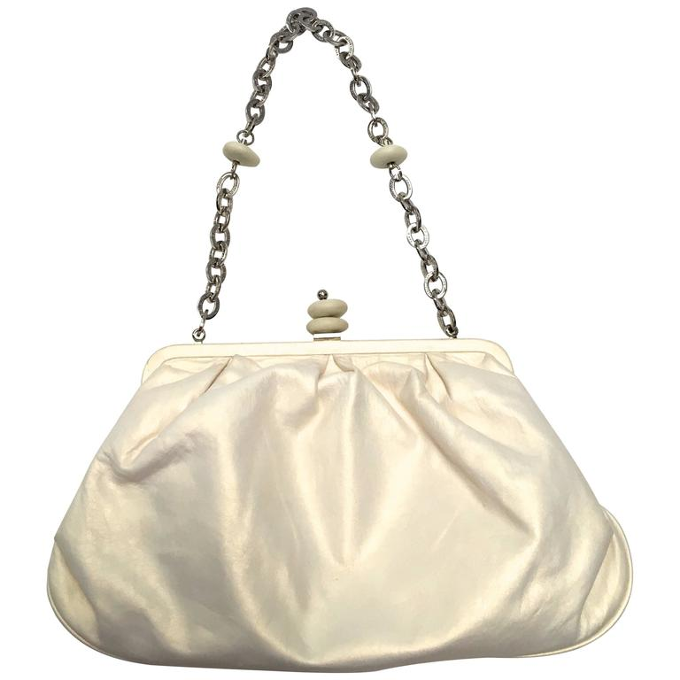 Herve Leger Pearl White Evening Bag