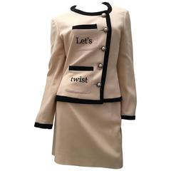 Moschino 2 Beige Pc Suit - 'Let's Twist Again!'