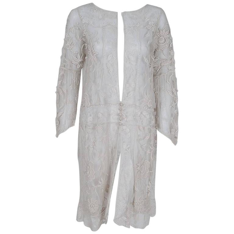 1920's Ivory Embroidered Floral Net & Filet-Lace Deco Bell-Sleeve Dress Jacket