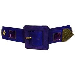Vintage Yves St Laurent jeweled purple suede belt 1980s