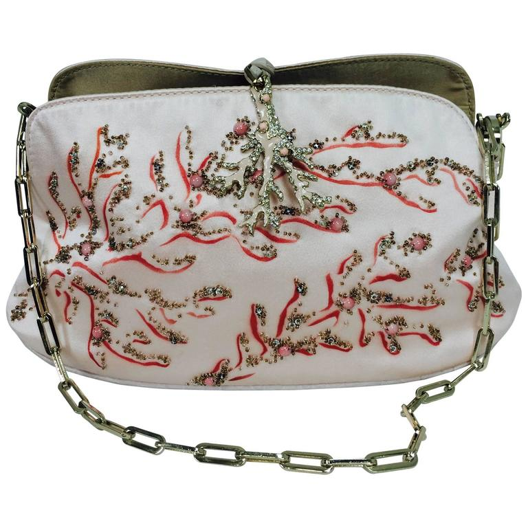 Valentino Garavani hand painted & beaded coral jewel evening bag