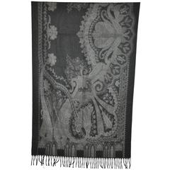 "Pierre Balmain Wool & Cashmere ""Shades of Grays"" Fringed Scarf"
