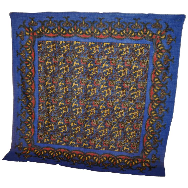 Rodier Huge Bold Abstract Wool Challis Shawl with Fringe Accent