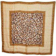 "Dennis Basso Large ""Shades of Browns"" Leopard Silk Scarf"