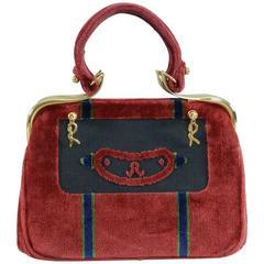 Vintage 1960's Roberta di Camerino Vintage Cut Velvet Raspberry Bag Purse