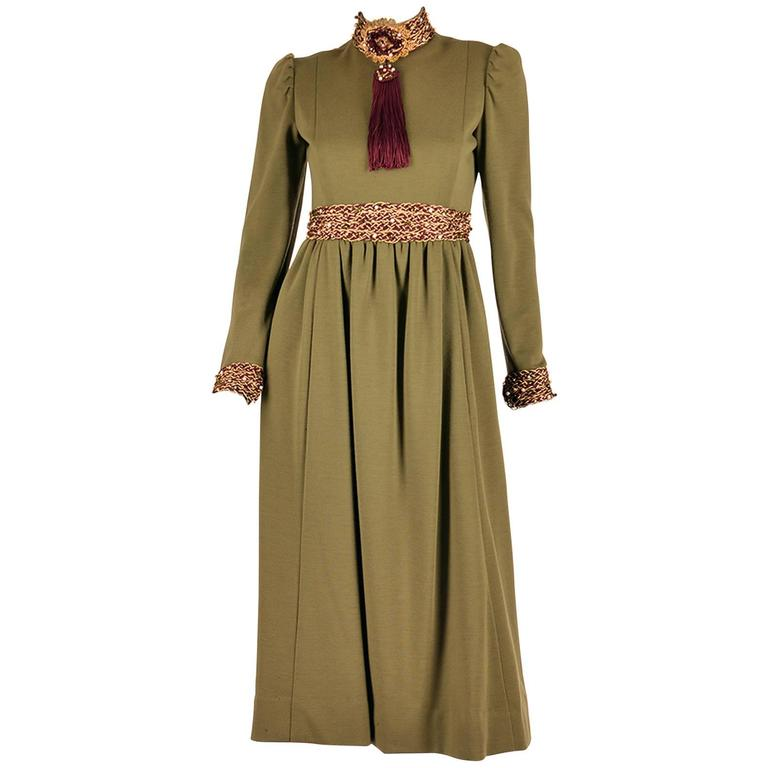 Late 1960s Geoffrey Beene Olive Green Dress For Sale