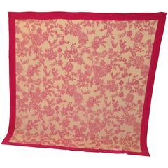 Rochas Huge Fuchsia Floral Silk Scarf