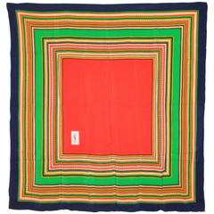 Yves Saint Laurent Multi-Stripe with Center Red Silk Scarf