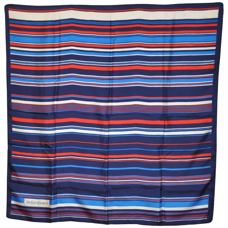 Yves Saint Laurent Red White and Blue Signature Silk Scarf