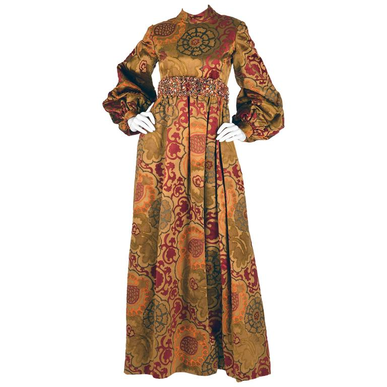 1960s George Halley Silk and Velvet Ocher Renaissance Style Gown