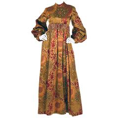 George Halley Silk and Velvet Ochre Renaissance Style Gown
