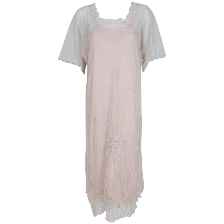 1920's French Embroidered Ivory-White Lace & Pink Silk Deco Flapper Day Dress