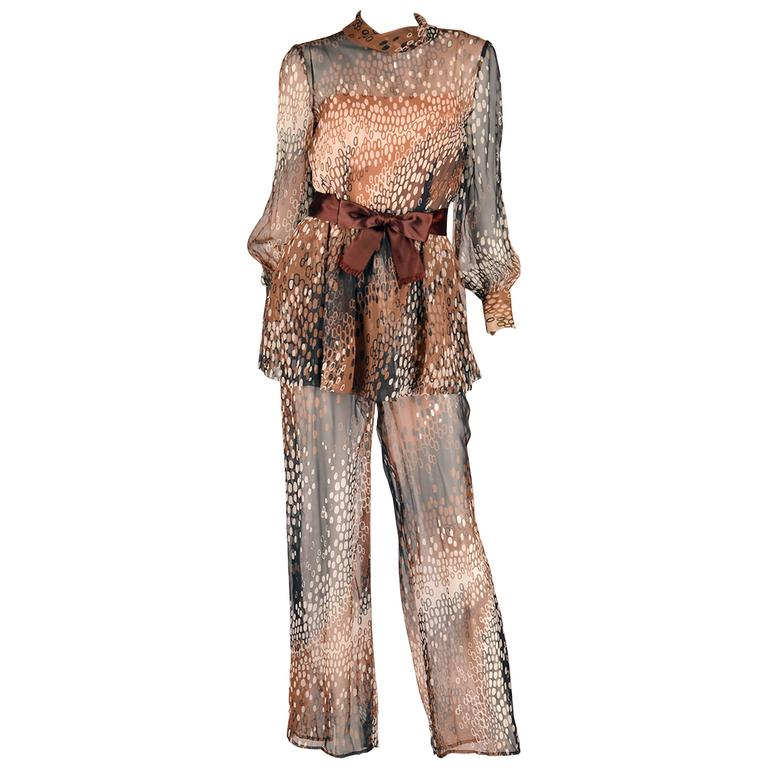 aef87829bd8 1960s Mollie Parnis Sheer Silk Chiffon Two Piece Blouse and Jumpsuit For  Sale