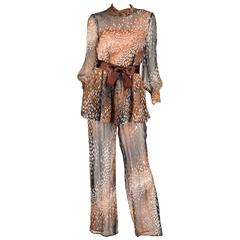 1960s Mollie Parnis Sheer Silk Chiffon Two Piece Blouse and Jumpsuit