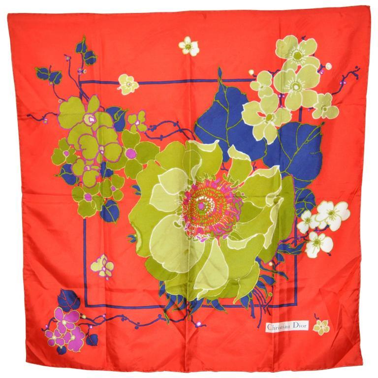 Christian Dior Wonderful Bold Floral Silk Scarf