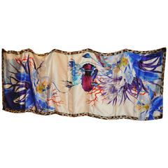 Roberto Cavalli Huge Bold Multi-Floral with Leopard Crepe di Chine Scarf