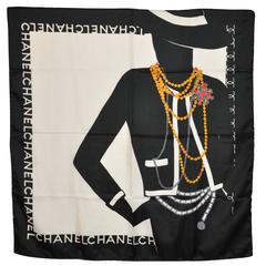 "Chanel Signature ""Coco Portrait with Jewelry"" Silk Scarf"