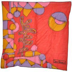 Rare Georgio Sant' Angelo Bold Abstract Cotton Scarf