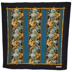 """Brooks Brothers """"Stripes and Floral"""" Silk Scarf"""
