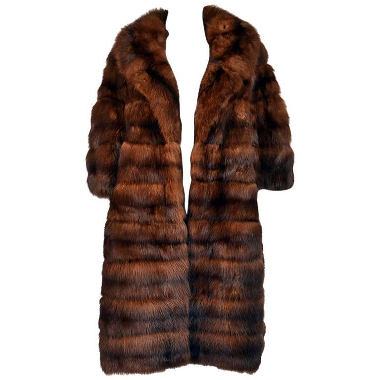 1950s Maximillian Horizontally Striped Mink Coat For Sale