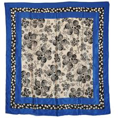 Adrienne Vittadini Bold Navy White and Black Floral Silk Scarf