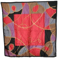 "Oscar de la Renta Multi-Color ""Ropes and Chains"" Silk Scarf"