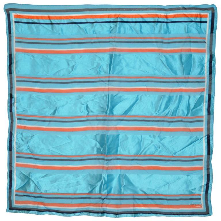 Oscar de la Renta Multi-Stripe Silk and Silk Chiffon Scarf
