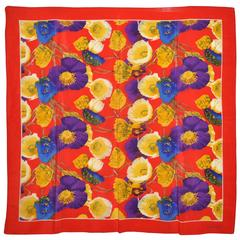 Linda Allard for Ellen Tracy Bold Multi-Color Multi-Floral Silk Scarf