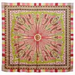"Large Multi-Color ""Burst of Palsey"" Silk Scarf"