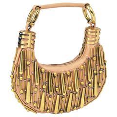 Chloe Champagne Silk Satin and Gold Bracelet Bag