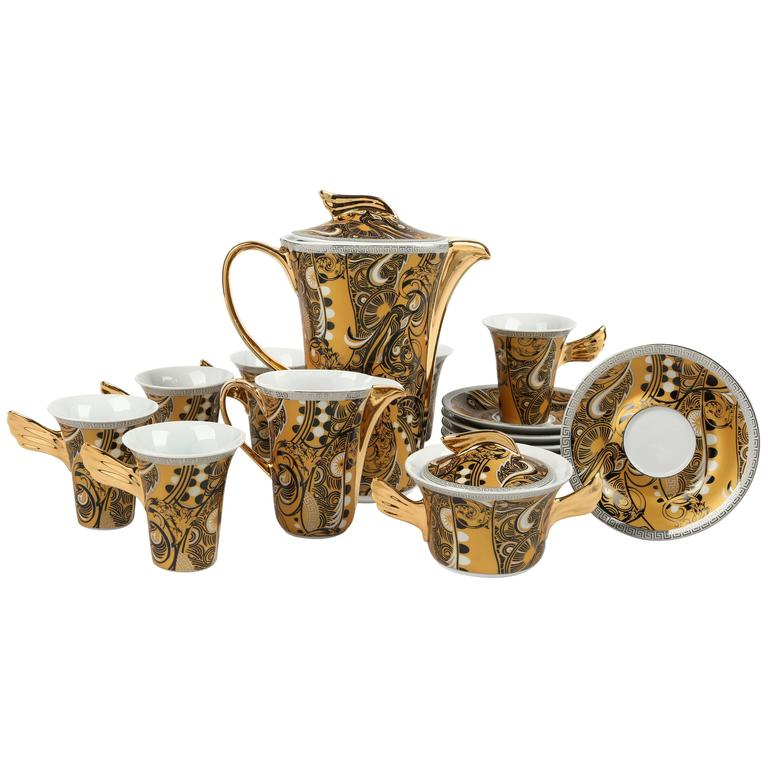 VERSACE ROSENTHAL Classic Gold Black Medusa Pattern Weider Collection Tea Set For Sale