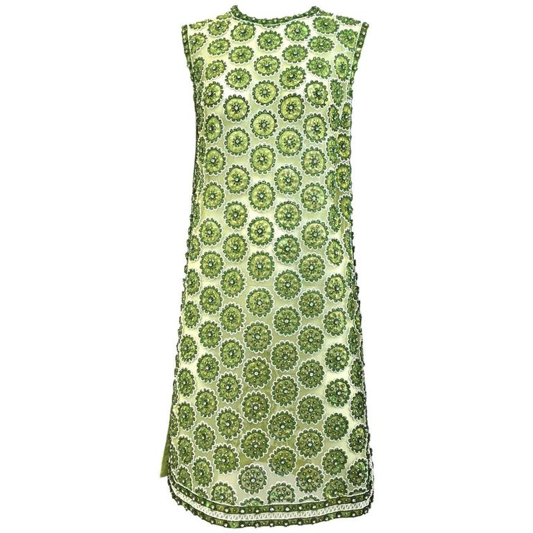 1960s Green mesh rhinestones dress 1