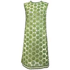 1960s Green mesh rhinestones dress