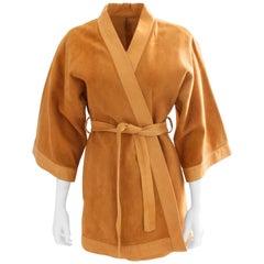 Bonnie Cashin Sills Camel Suede & Leather Kimono Jacket RARE 1960s Sz M VTG
