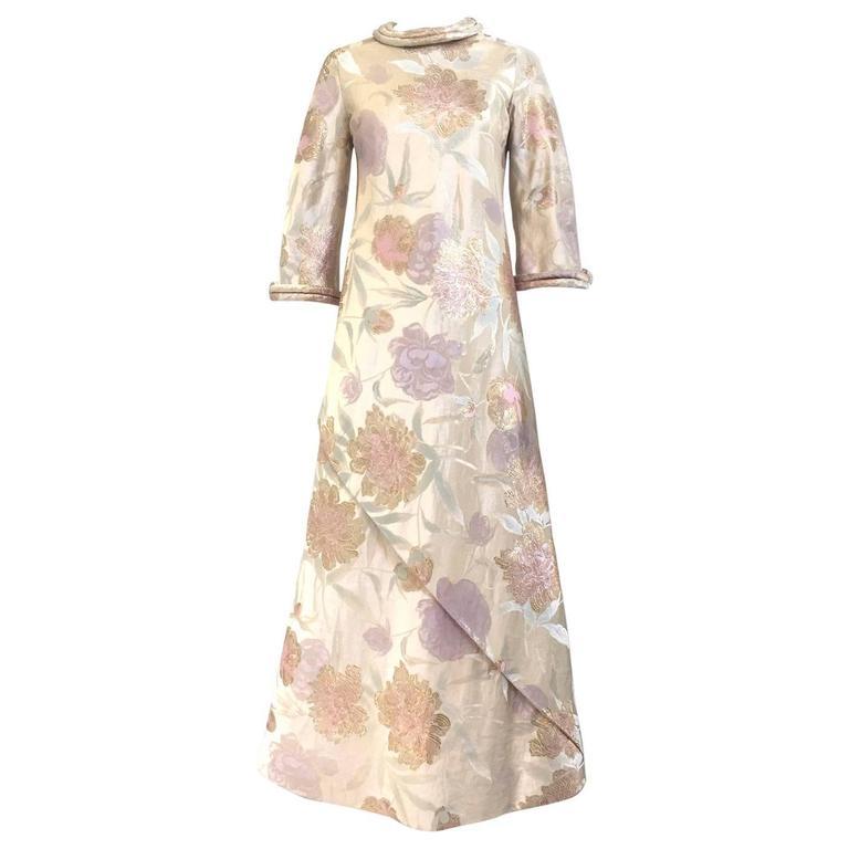 1960s CARDINALI silk brocade jacquard dress For Sale