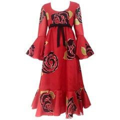 1970S SARMI Red Silk Bold Floral Print Maxi Dress