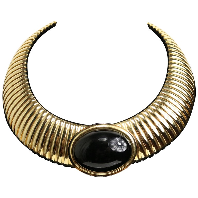 Vintage 80s Black Serpent Choker in Gold-Toned Brass For Sale