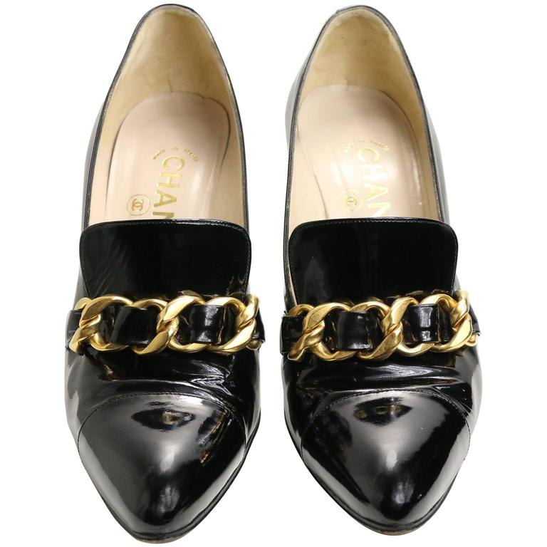 Chanel Black Patent Leather Shoes With Gold Braided Pointed Heels