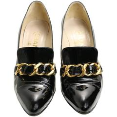 Chanel Black Patent Leather with Gold Braided Pointy Heels