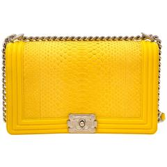 Limited Chanel Python Yellow New Medium Boy Bag