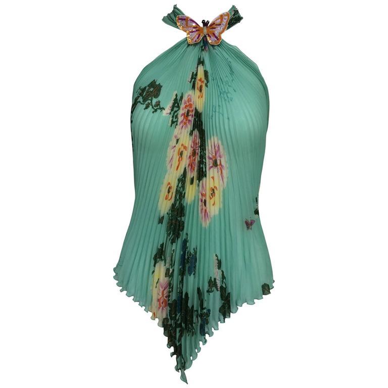 Ungaro aqua floral print pleated silk chiffon butterfly halter top