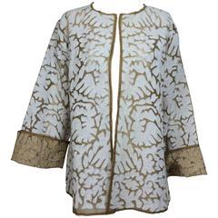 Jeannie McQueeny Cocoa silk organza & linen applique jacket XXL
