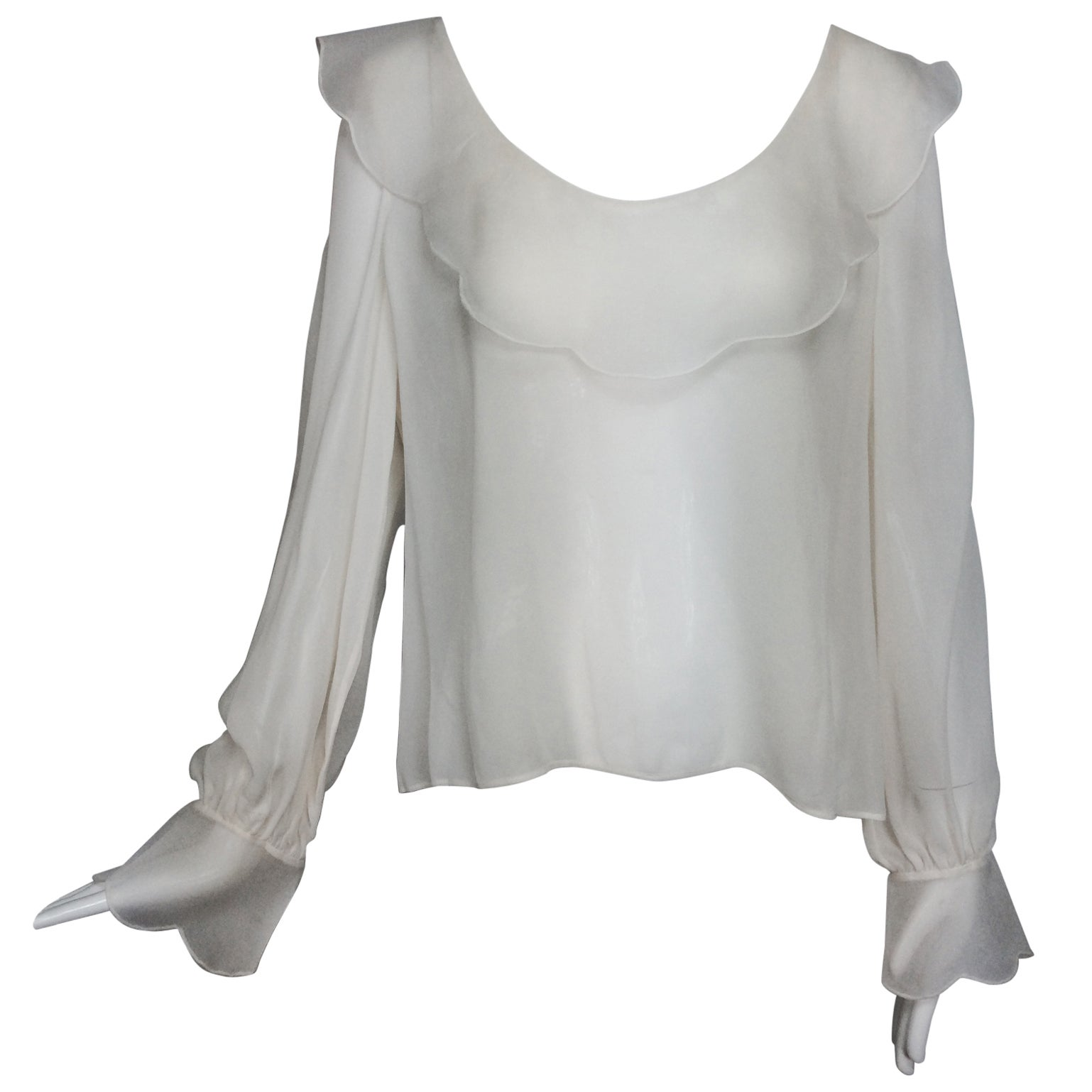 110d4dacb7269e Valentino off white silk chiffon poet blouse L For Sale at 1stdibs
