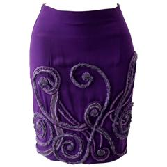 ATELIER VERSACE Hand Embroided Purple Skirt