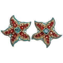 Kenneth Jay Lane KJL Starfish Earrings