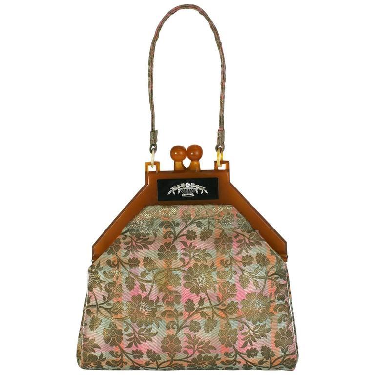 Art Deco Lame and Diamond Evening Bag