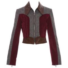 Rodarte Runway Wool Tweed Leather & Suede Zip Front Jacket, Spring 2016