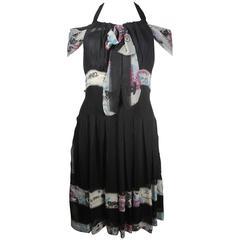 Chanel Graffiti Dress - US 6 - 38 - Black & White Silk CC Logo Blue Pink 07C