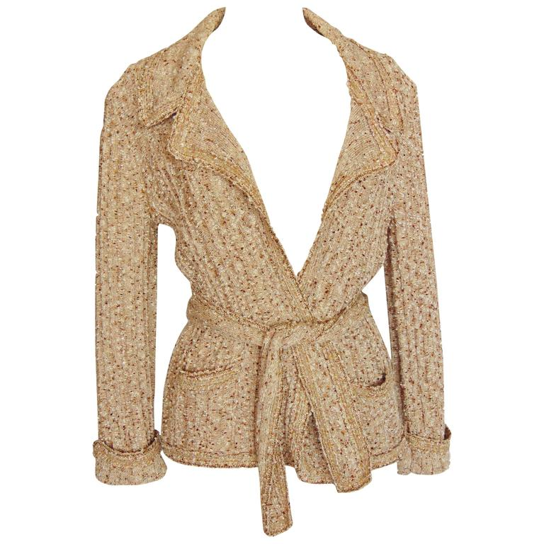 Chanel 06P Oatmeal Tan Boucle Knit Wrap Cardigan Sweater with Belt ...
