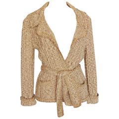 Chanel 06P Oatmeal Tan Boucle Knit Wrap Cardigan Sweater with Belt Sz 44